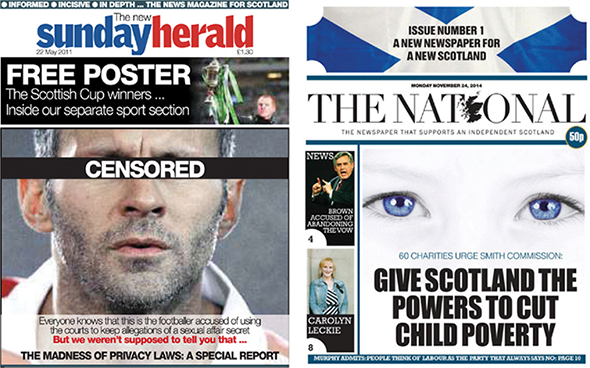 b3d5b6427cd8 Front-cover designs in the Sunday Herald and The National. Facsimiles  reproduced in accordance with the Norwegian Copyright Act.